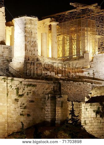 Acropolis Of Athens By Night. Greece