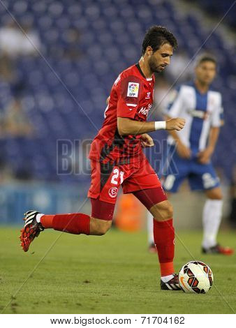 BARCELONA - AUG, 30: Nico Pareja of Sevilla FC during spanish league match against Espanyol at the Estadi Cornella on August 30, 2014 in Barcelona, Spain