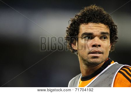 BARCELONA - JAN, 21: Pepe Lima of Real Madrid during the Spanish Kings Cup match between Espanyol and Real Madrid at the Estadi Cornella on January 21, 2014 in Barcelona, Spain