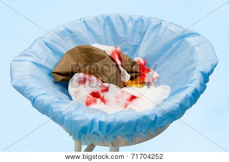 Surgical garbage with blood. Image wit shallow DOF