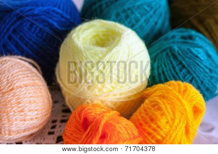 Colorful Skeins Of Yarn For Knitting