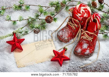 Vintage Christmas Decoration Red Stars And Antique Baby Shoes