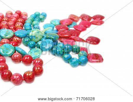blue green, red agate, semiprecious gemstones