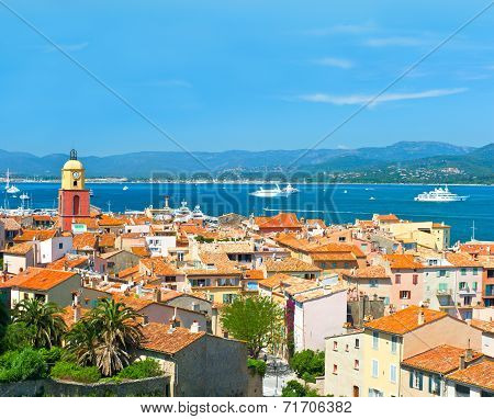 View Of Saint-tropez With Seascape And Blue Sky