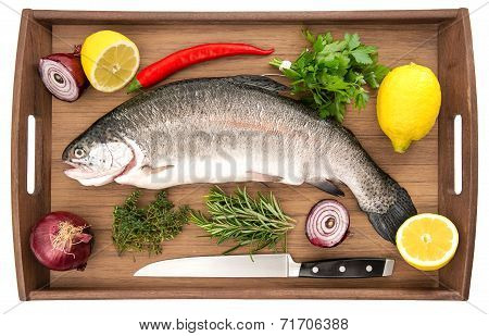 Raw Salmon Trout Fish On Wooden Background