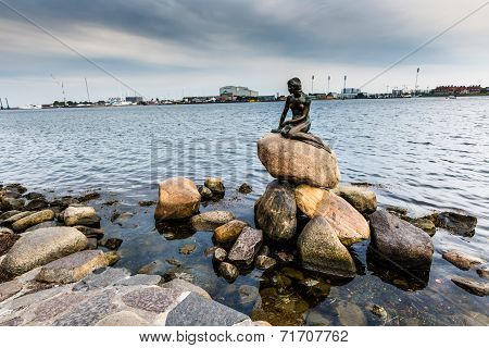 The Little Mermaid Is A Bronze Statue By Edvard Eriksen, Depicting A Mermaid. The Sculpture Is Displ