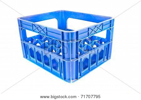 Blue Plastic Storage Box Crate On A White