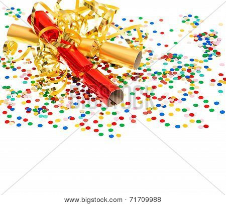 Colorful Confetti, Golden Streamer And Party Cracker