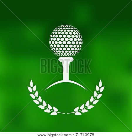 golf symbol green blurred background