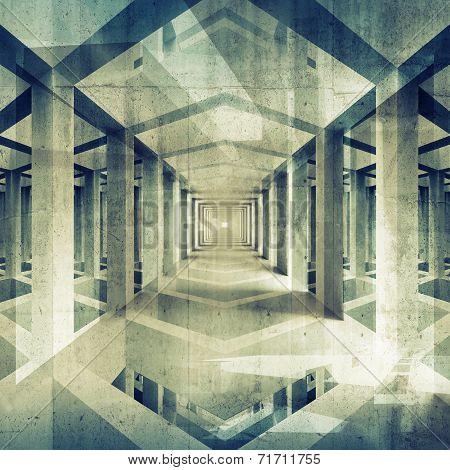 Dark Abstract Architecture 3D Background. Concrete Interior