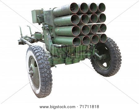 Old Russian Mobile Rocket Launcher Isolated Over White