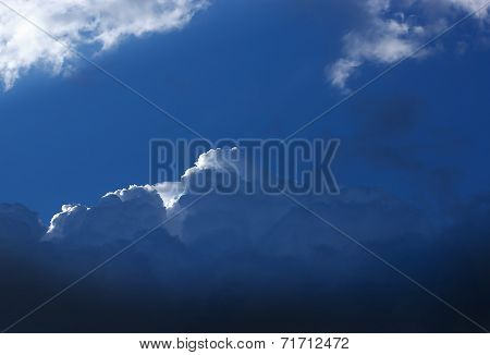 Dark blue storm cloud with a small white cloud edge