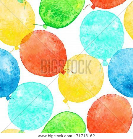 Seamless pattern with colorful watercolor balloons.