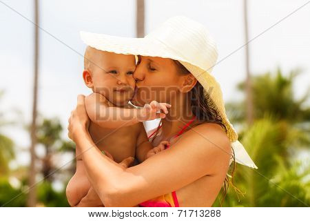 Beautiful Mother And Child In The Open Air.