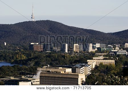 Downtown Of Canberra With Telstra Tower