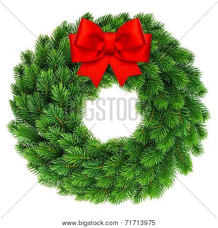 Christmas Wreath With Red Ribbon Bow Decoration