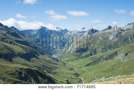 VILLE DES GLACIERS, FRANCE - AUGUST 27: Ville des Glaciers with Les Chapieux in the background. The region is a stage at the popular Mont Blanc tour. August 27, 2014 in Ville des Glaciers.