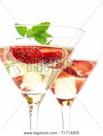 Strawberry Cocktail With Berry In Martini Glass