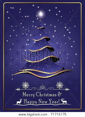 Printable greeting card for Christmas and New Year