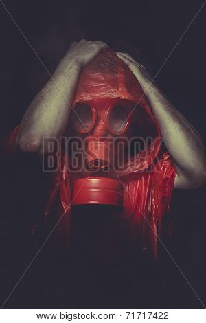 catastrophe nuclear concept, man with red gas mask