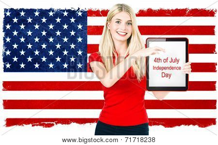 Young Woman With American National Flag