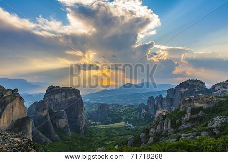 Sunset at Meteora, Greece