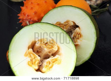 Exotic Fruits: Melon, Kiwano And Orange