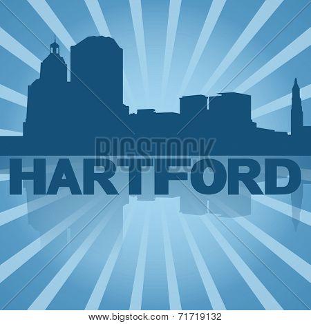 Hartford skyline reflected with blue sunburst illustration