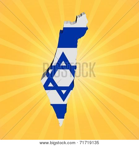 Israel map flag on sunburst illustration