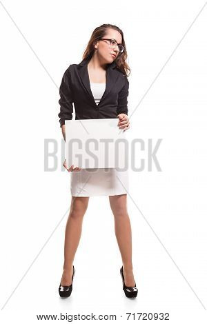 Business woman with blank banner