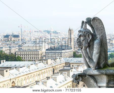 Demon Gargoyle From Notre Dame De Paris