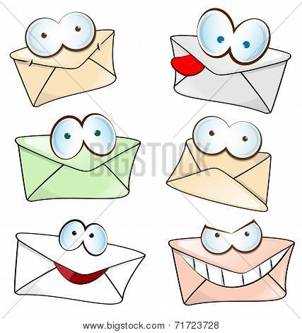 Funny Mail Cartoon Set Isolated On White