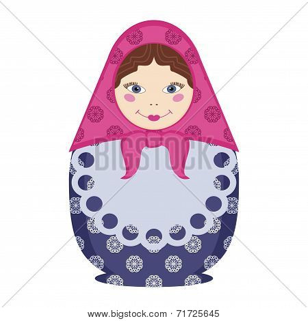 matryoshka doll traditional russian souvenir on white