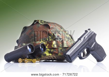 military helmet and semi-automatic gun isolated on white background