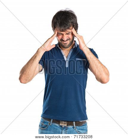Frustrated Man Over Isolated White Background
