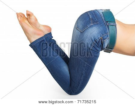 Close Up Of Woman Legs With Jeans And Barefoot