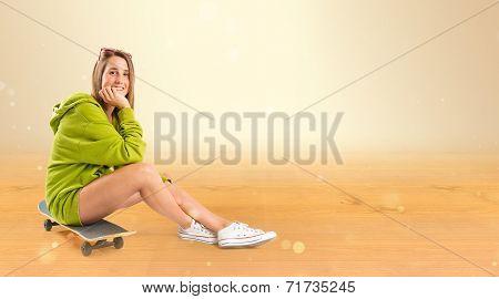 Pretty Young Girl Wearing Urban Style Ocher Skateboard