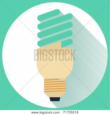 Flat Energy Saving bulb icon with long shadow