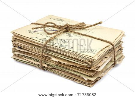 Stack Of Old Letters On White Background