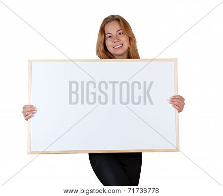 Girl With Information Board