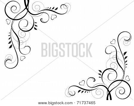 abstract floral black decorative element frame