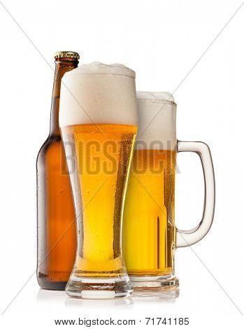 Isolated glasses and bottle of beer on white background