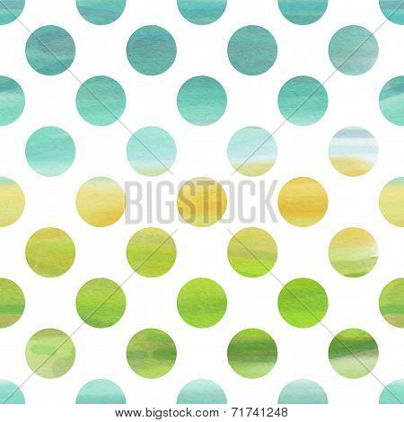 Green And Blue Watercolor Seamless Texture With Polka Dots