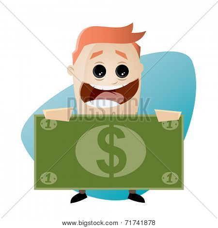 funny cartoon businessman with money