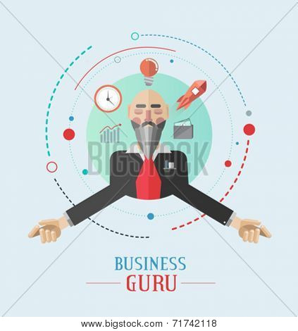 Business guru vector with icons on grey background