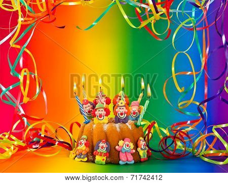 Birthday Cake With Candles And Colorful Decoration
