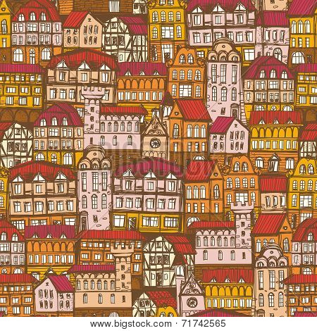 Seamless Hand Drawn Pattern With Old City