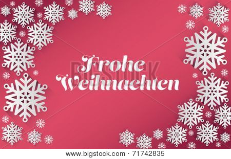 German happy christmas message vector on pink background