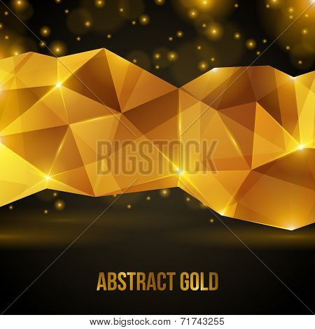 Gold crystal abstract pattern.