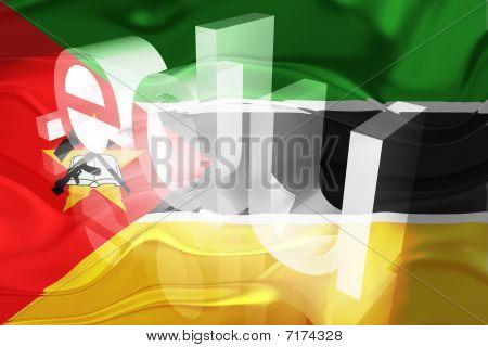Bandeira de Moçambique educação ondulado